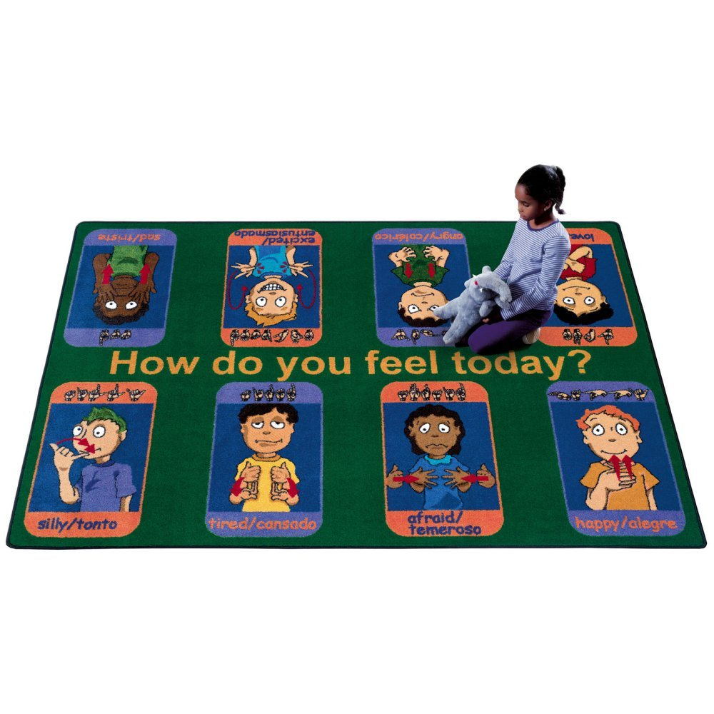 54 x 78 Educational Signs of Emotions Kids Rug Rug Size