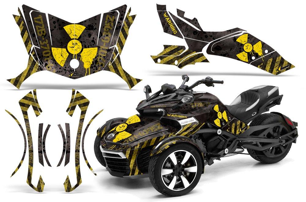 AMR Racing Graphics Can - Am Spyder f3ロードスタービニールラップキット – Meltdownイエローブラック   B01MUA9YZN