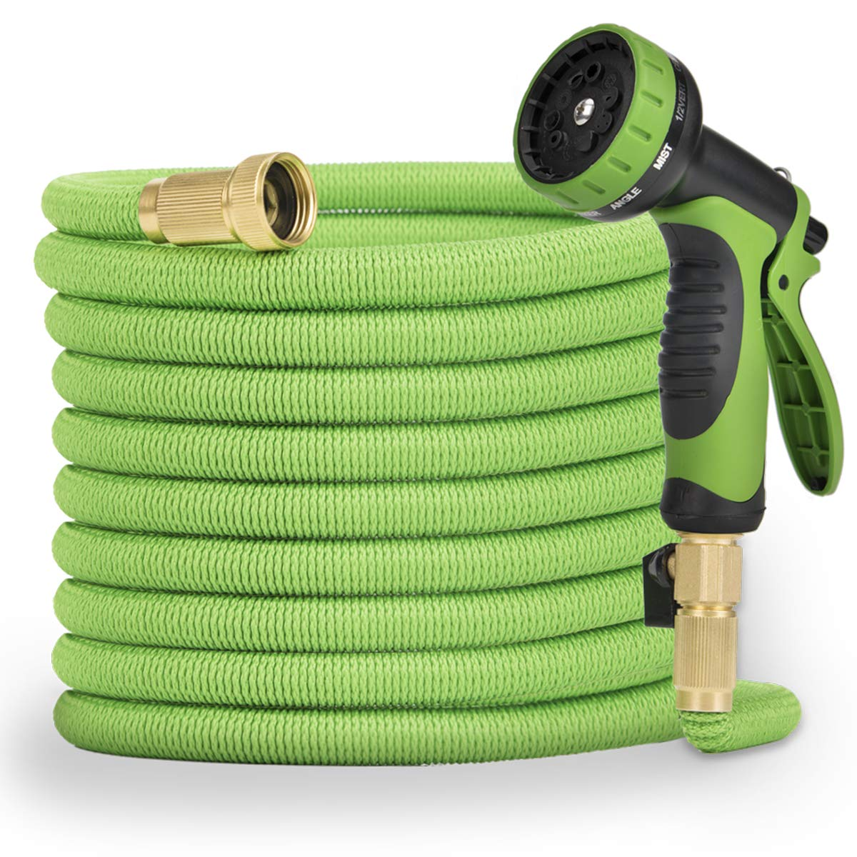Pamapic 50ft Garden Hose 【Expandable】, Lightweight and Durable, Flexible Water Hose with 3/4 Nozzle Solid Brass Connector and Multi-Function Spray Nozzle, Suitable For Patio Lawn & Garden, Storage Bag