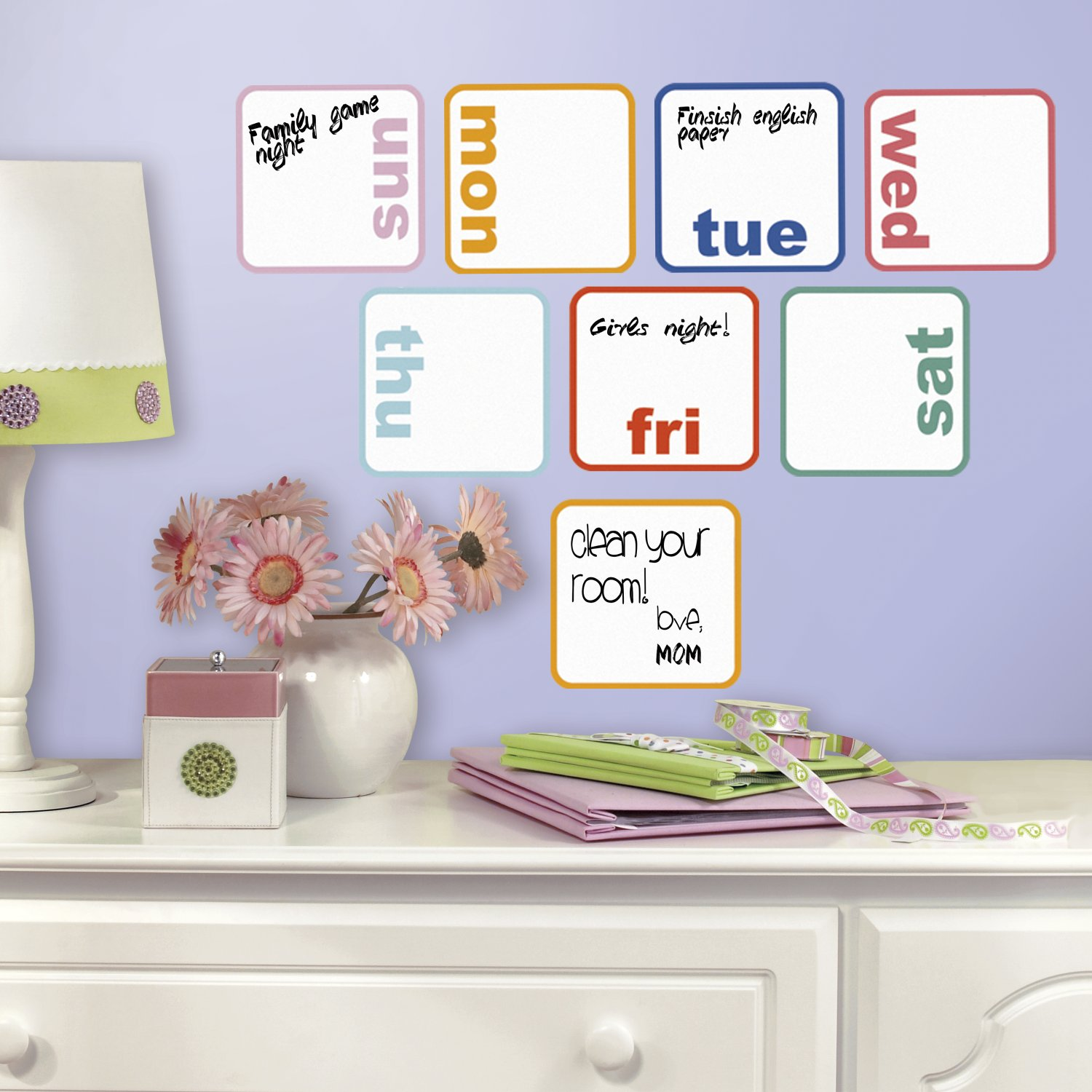 Roommates rmk3043scs days of the week planner dry erase peel and roommates rmk3043scs days of the week planner dry erase peel and stick wall decals 8 count amazon amipublicfo Images