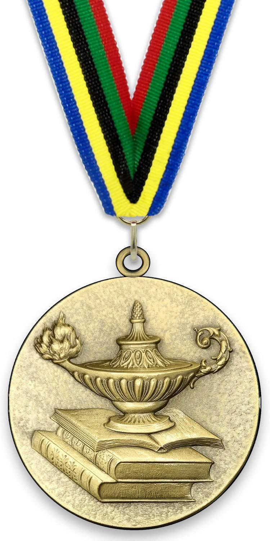 Colores de Cinta a Elegir Color Oro L/ámpara del Conocimiento 6,4cm con Cinta de tama/ño 2,2cm x 80cm em Medalla Grande de Metal