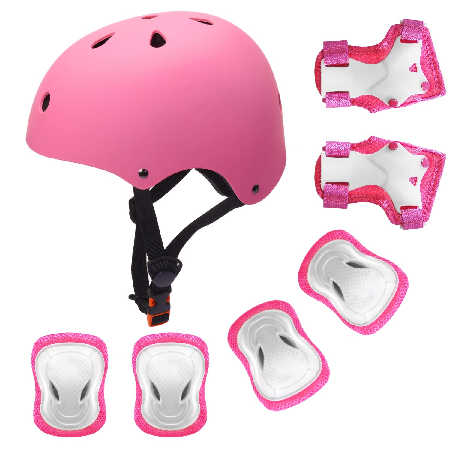 YUFU Kids Helmet Sports Protective Gear Set for 3-8 Years Toddler Boys Girls Bike Skateboard Adjustable Helmet Knee Elbow Wrist Pads for Cycling Skating Roller Scooter Bicycle, Pack of 7 Pink S