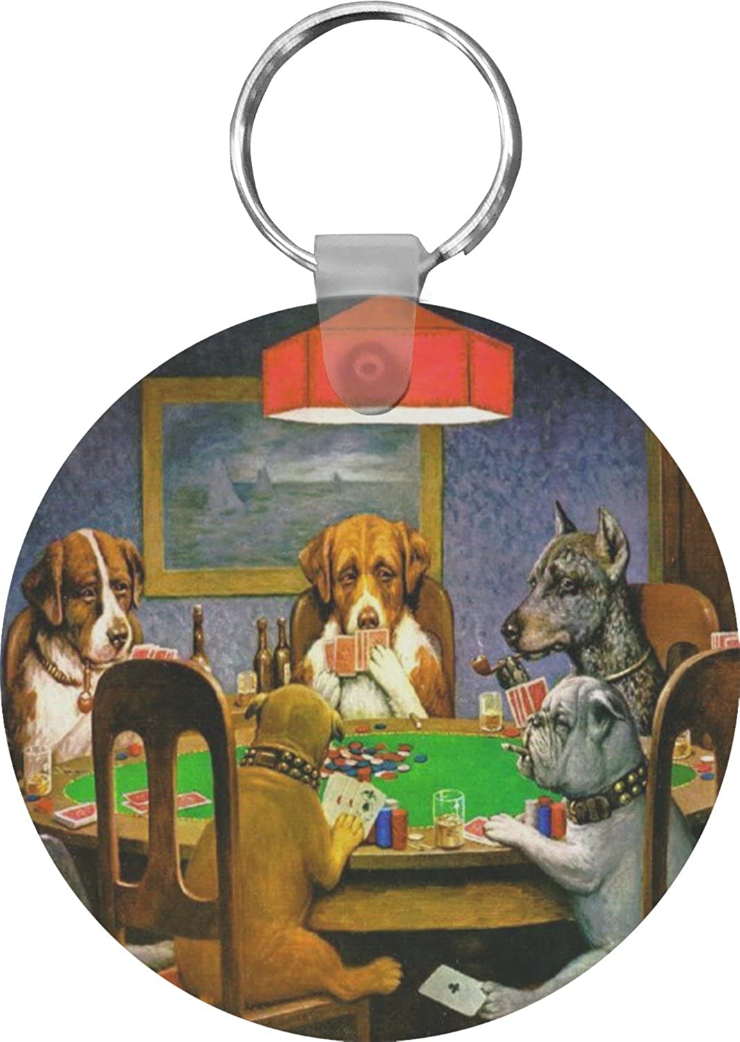 Dogs Playing Poker 1903 C.M.Coolidge Round Keychain