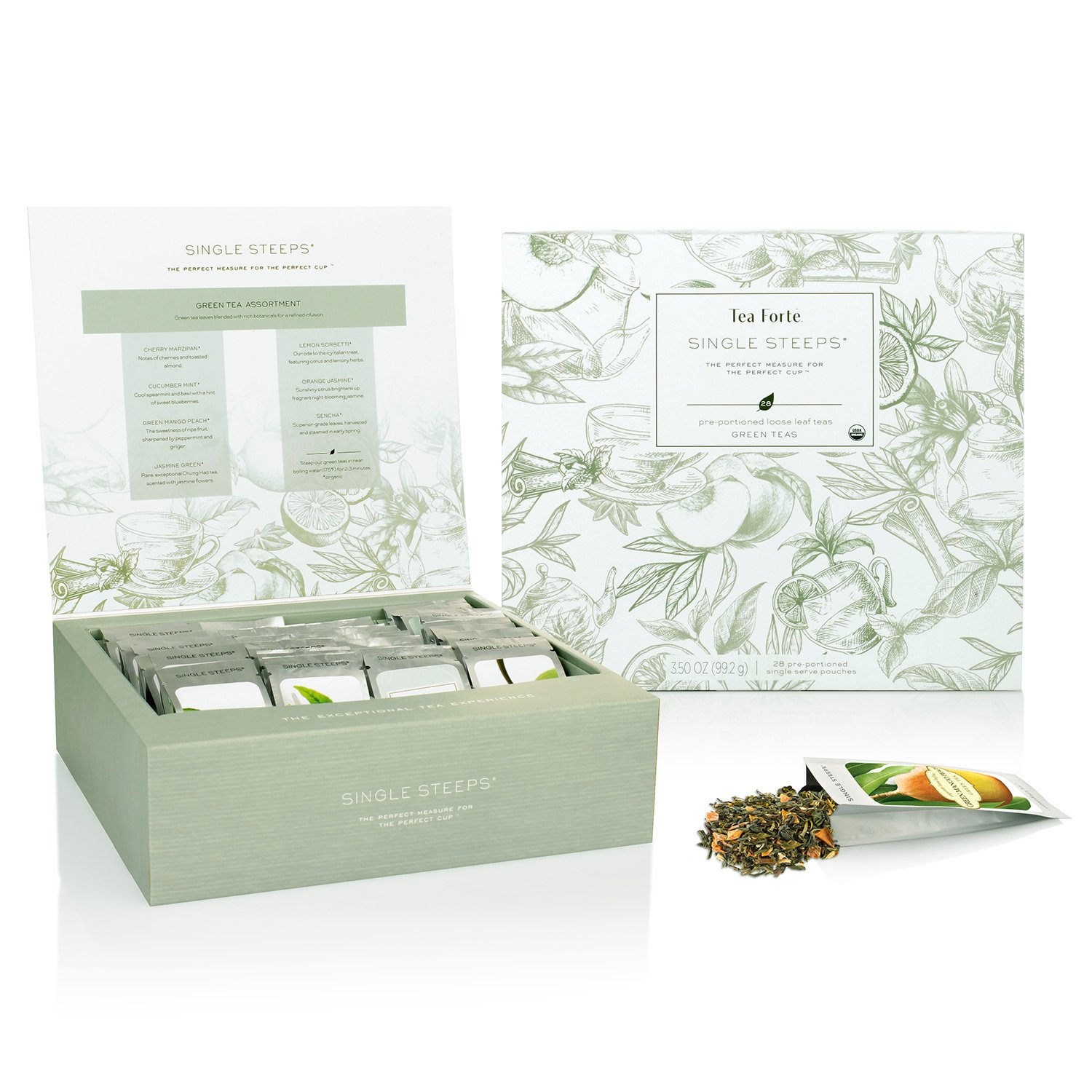 Tea Forte Single Steeps Loose Leaf Tea Chest, 28 Different Single Serve Pouches, Green Tea