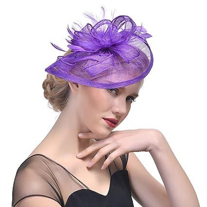 StageOnline Donne Cappelli Cerimonia Piuma Fiore Partito Matrimonio  Decorazione Cappello per Partito Matrimonio 00cf2387fb30