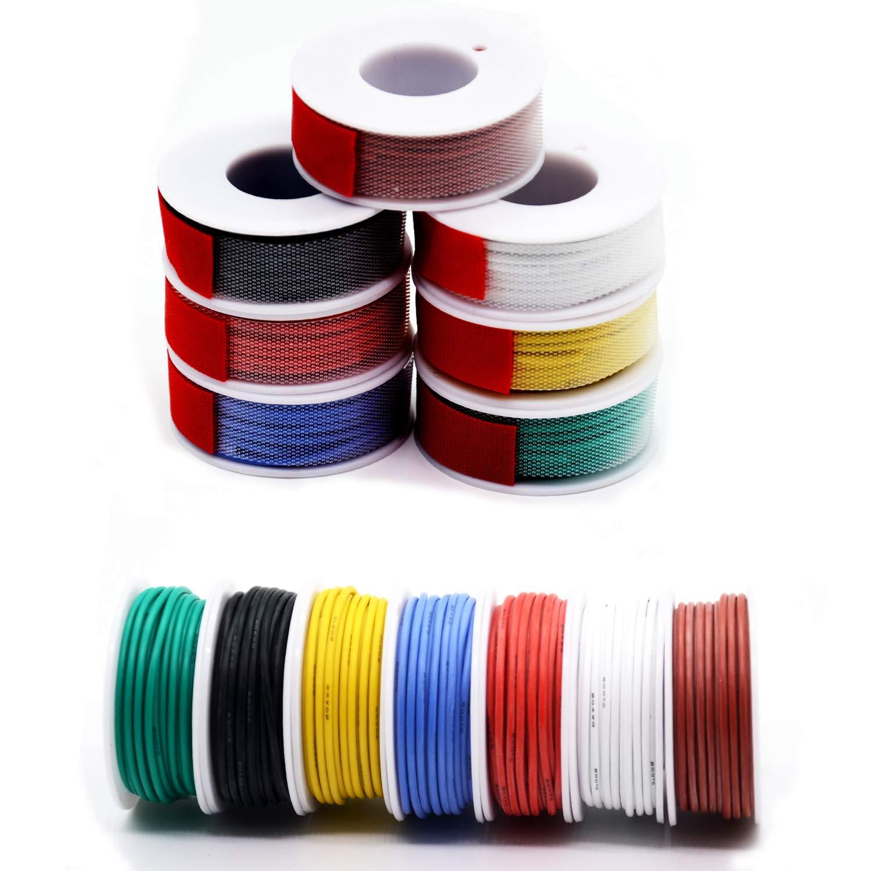 7 colores kit de electr/ónica trenzado 18 AWG 0,05 mm2 flexible y suave para bricolaje alambre de cobre esta/ñado Cable el/éctrico de silicona de 0,82 mm2