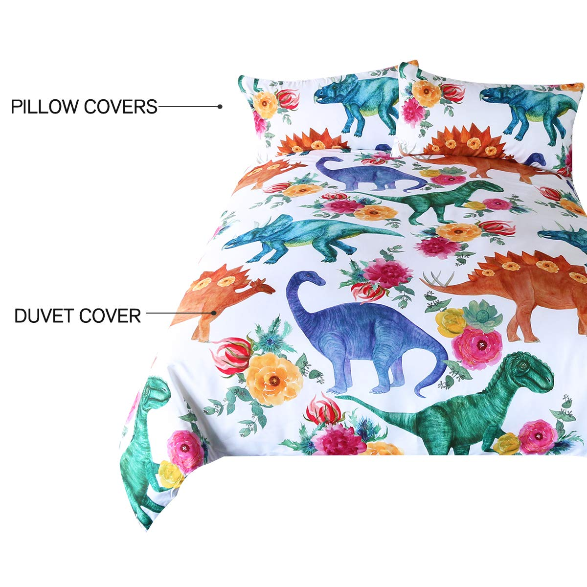 ARIGHTEX Boys Dinosaur Twin Size Bedding Watercolor Dinosaurs in Blue Green 3 Pieces Girly Flowers Duvet Cover Set by ARIGHTEX (Image #5)