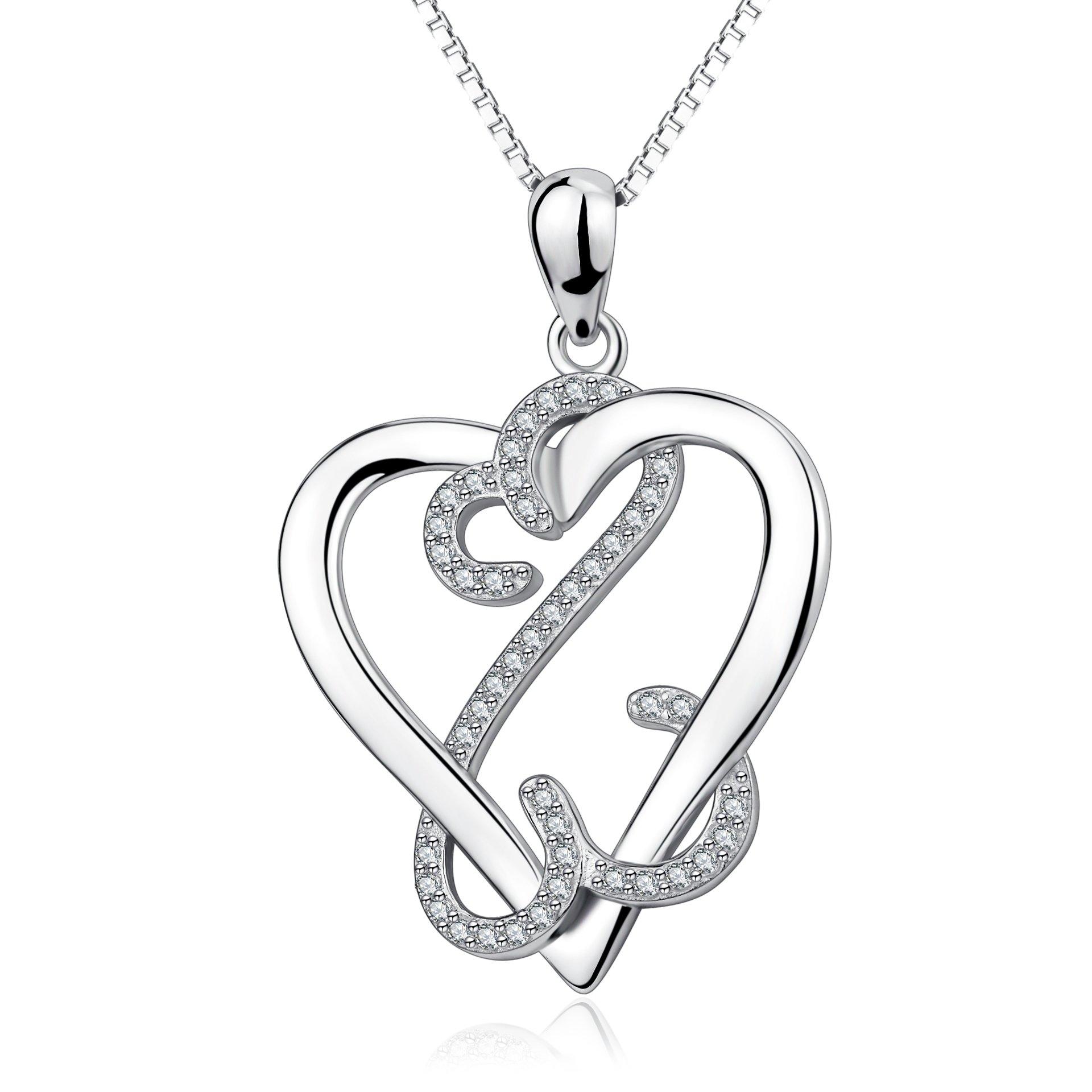 YFN 925 Sterling Silver Infinite Eternal Love Heart Pendant Necklace Charms 18'' for Women,Girls