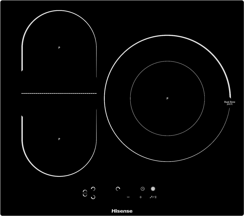 Hisense I6337C - Placa Inducción 3 zonas, 1 con foco gigante 32Cm, 2 conectadas entre si área Bridge, encimera de 60Cm, bloqueo infantil y terminación biselada