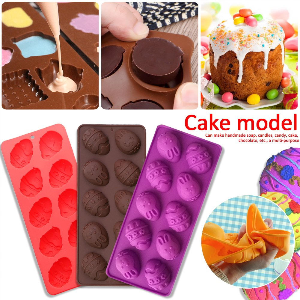 12-Cavity Easter Eggs Silicone Candy Molds for DIY Chocolate Cake Desserts Random Color (10-Cavity)