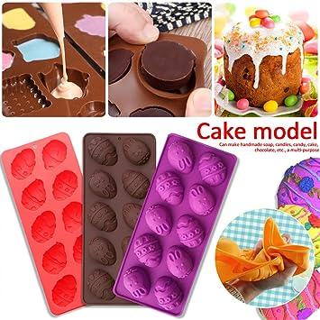 Purebesi 12 huevos de Pascua Moldes de silicona para dulces para tartas de chocolate DIY postres color al azar, 10-Cavity: Amazon.es: Hogar