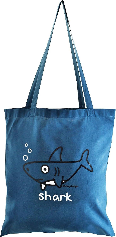 SHARK 100/% cotton NEW TOTE BAG Denim Blue
