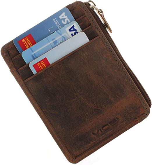 Wallet for Men with RFID Blocking SIim Mens Zipper Leather Wallet ANTI-THEFT
