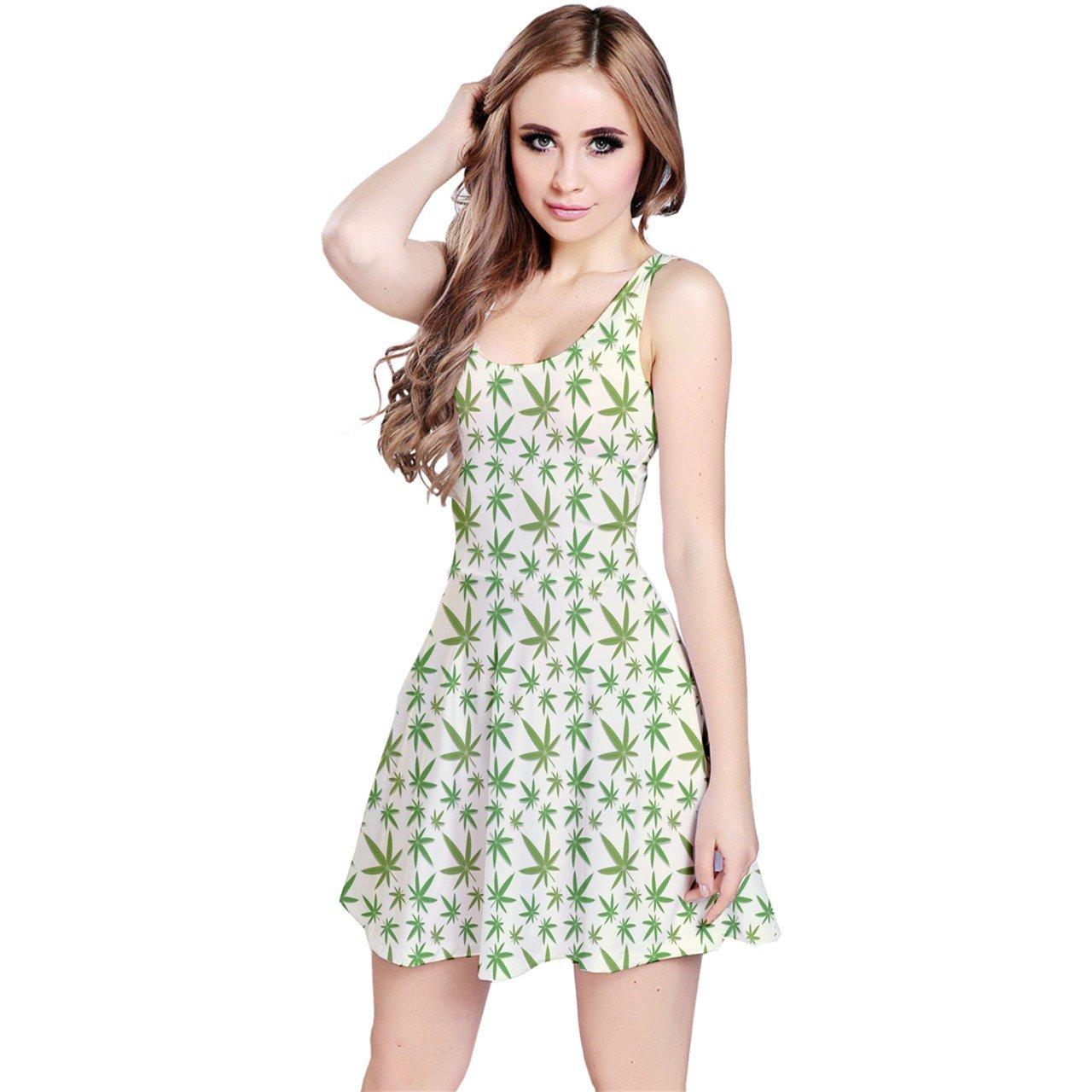 CowCow Womens Green Cannabis Leaves Pattern Sleeveless Dress
