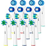 Schallcare Generic Replacement Brush Heads, Compatible with Braun Oral b electric toothbrush,includes 4 Floss, 4 Cross, 4 Precision & 4 senstive 16 Pcs