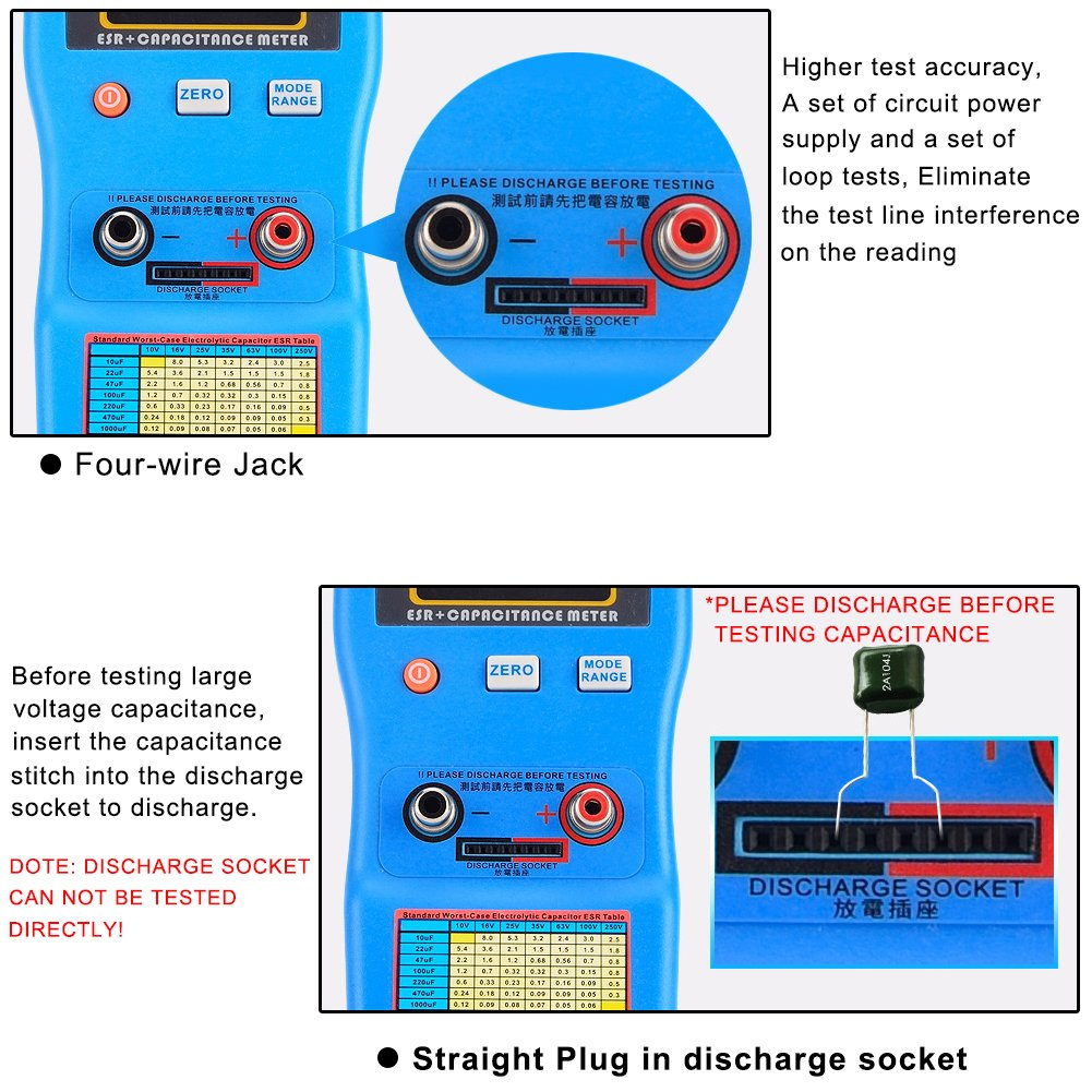 Signstek 2 in 1 Digital Auto-ranging ESR + Capacitance Meter 0-470Ω ERS 0μF-470mF Rechargeable Capacitance Tester and Internal Resistance Tester with SMD Test Clips and USB Cable by Signstek (Image #2)