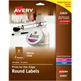 "Avery 2"" Round Labels, Sure Feed, Full Bleed Edge, Customizable Labels, 120 Glossy Clear Labels (22825)"