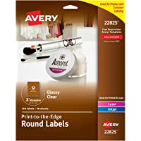 """AVERY 2"""" Round Labels for Laser & Inkjet Printers, 120 Glossy Crystal Clear Labels (22825)"""