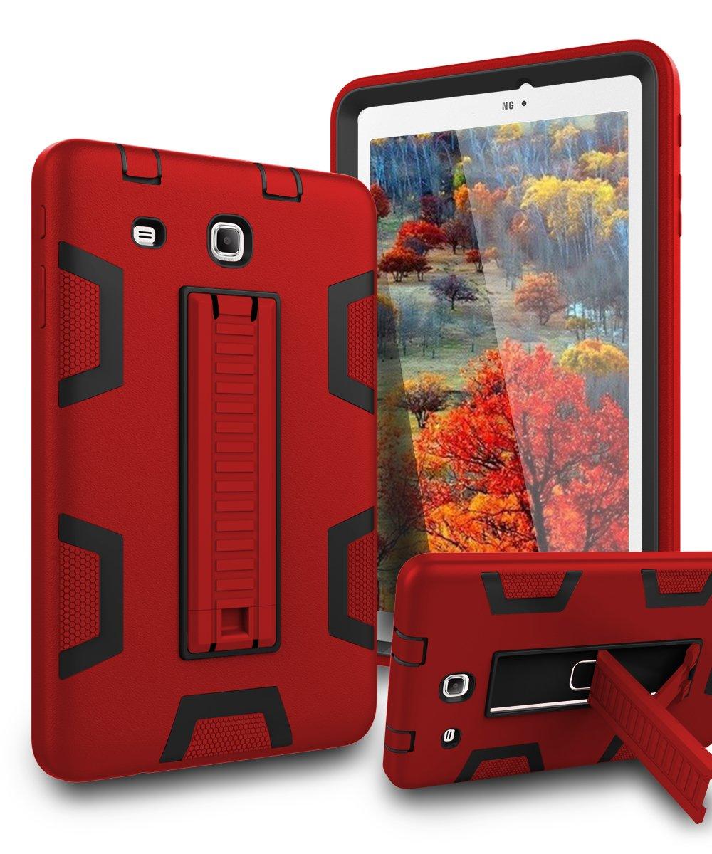 TIANLI Samsung Galaxy Tab E 8.0 Case Kickstand Three Layer Hybrid Shockproof High Impact Protective Case for Tablet Samsung Galaxy Tab E 8.0,Red Black by TIANLI (Image #1)