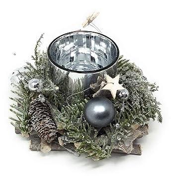 Amazon De Cbk Ms Deko Advent Teelichthalter Silber Mit