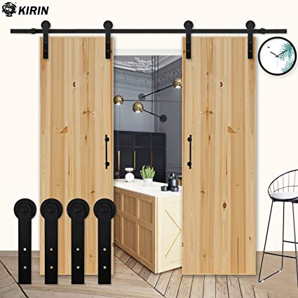 Kirin 9 FT Sliding Wood Barn Door Hardware Kit Black Heavy Duty Interior  Rolling Door Track