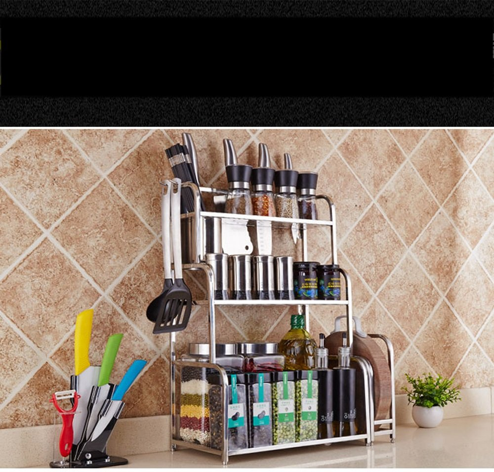 Hyun times 304 Stainless Steel Kitchen Shelves Floor 3 Layer Seasoning Storage Racks Storage Rack Kitchen Pendant