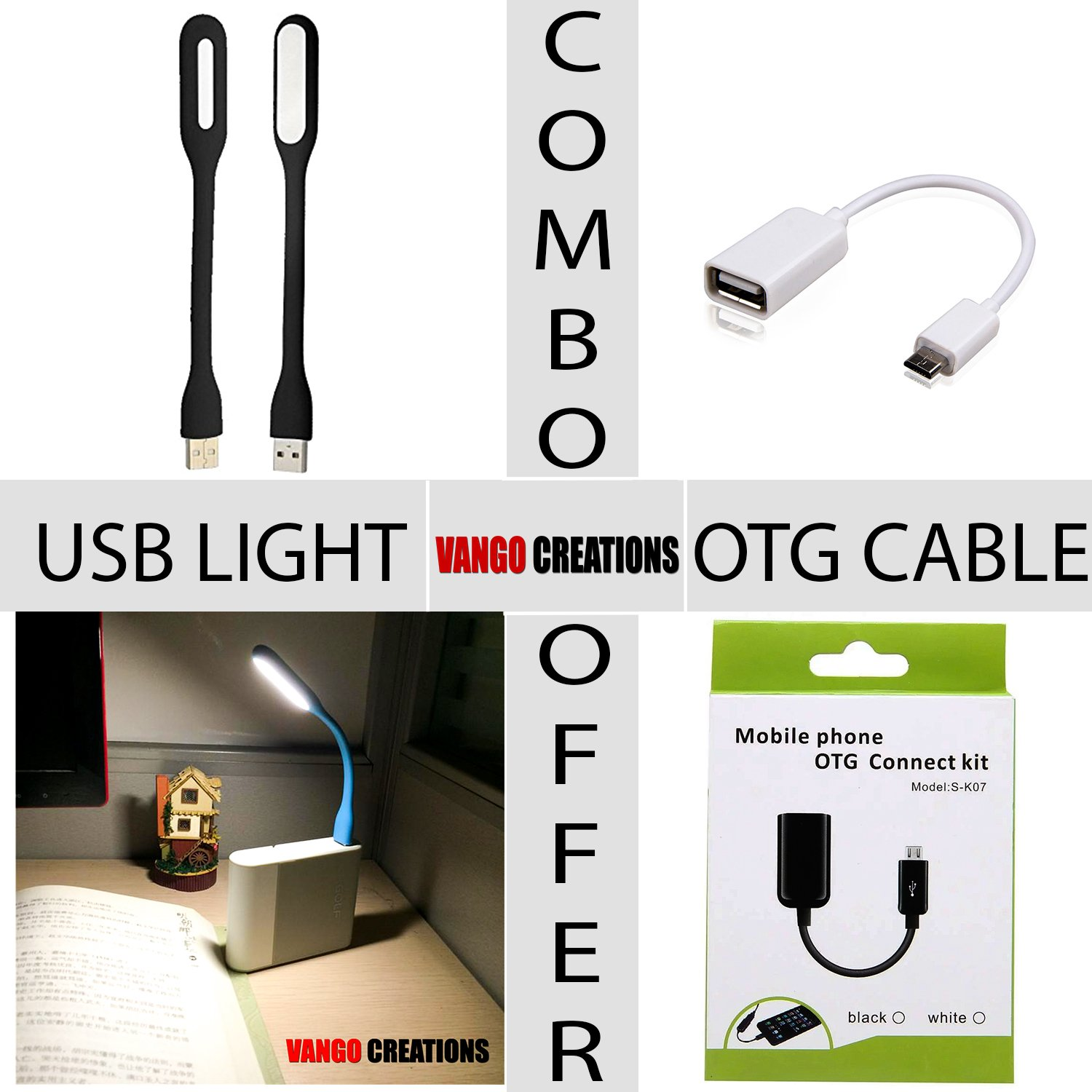 Vango Creations Combo Of 1 Otg Usb Cable And Led Copper Iron Kabel Connect Kit Model S K07 Electronics