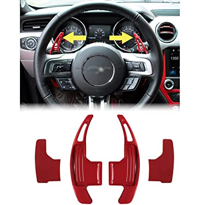 Steering Wheel Shift Paddle Extended Shifter Trim Cover for Ford Mustang 2015~2020 Aluminum Alloy (Red): Automotive