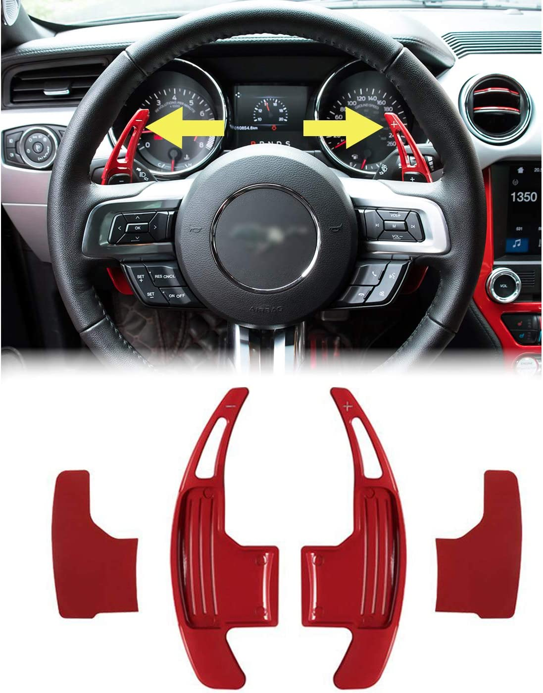 Car Steering Wheel Shift Paddle Shifter Trim Cover for Ford Mustang 2015-2017