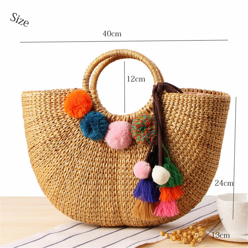 WIEJDHJ Woven Semicircle Straw Hollow Bags Beach Handbag Women Hairball Round Rattan Bag Casual Tote Lady