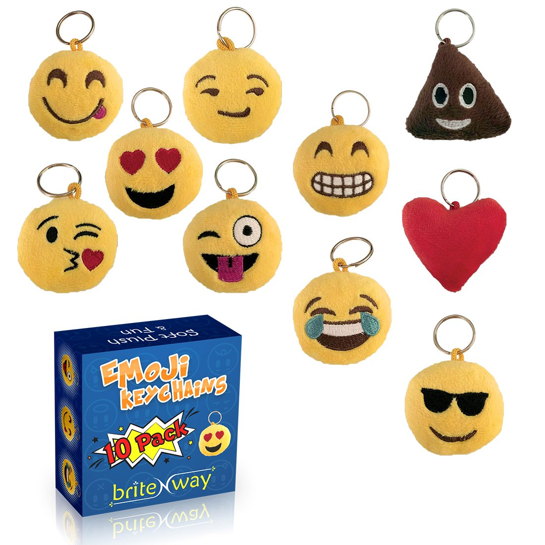 Emoji Keychain Round Faces Set of 10 - Cute Sweet Soft & Plush Yellow Pillow Keychains - Durable Metal Hook Ring - Funny Children Party Favors - Easy Installation On Backpacks, Purses, Phones & Stuff briteNway BRTN00142