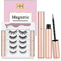 Magnetic Eyelashes with Eyeliner, B-COMB Magnetic Eyelashes and Eyeliner Kit, 5 Pairs Upgraded Reusable Magnetic Lashes…