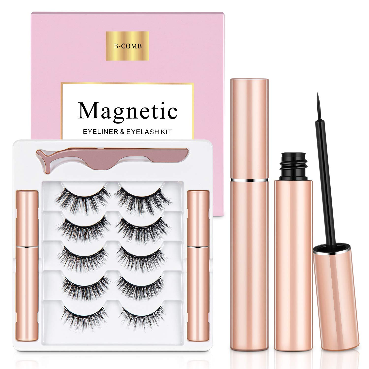 Magnetic Eyelashes with Eyeliner, B-COMB Magnetic Eyelashes and Eyeliner Kit, 5 Pairs Upgraded Reusable Magnetic Lashes Natural Look, No Glue Needed
