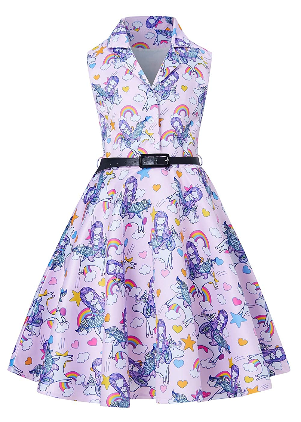 RAISEVERN Spring Summer Girls Sleeveless A Line Vintage Retro Rockabilly Dress Evening Party Form Wedding Cocktail Ballet Occasion Swing Midi Floral Dresses with Belt