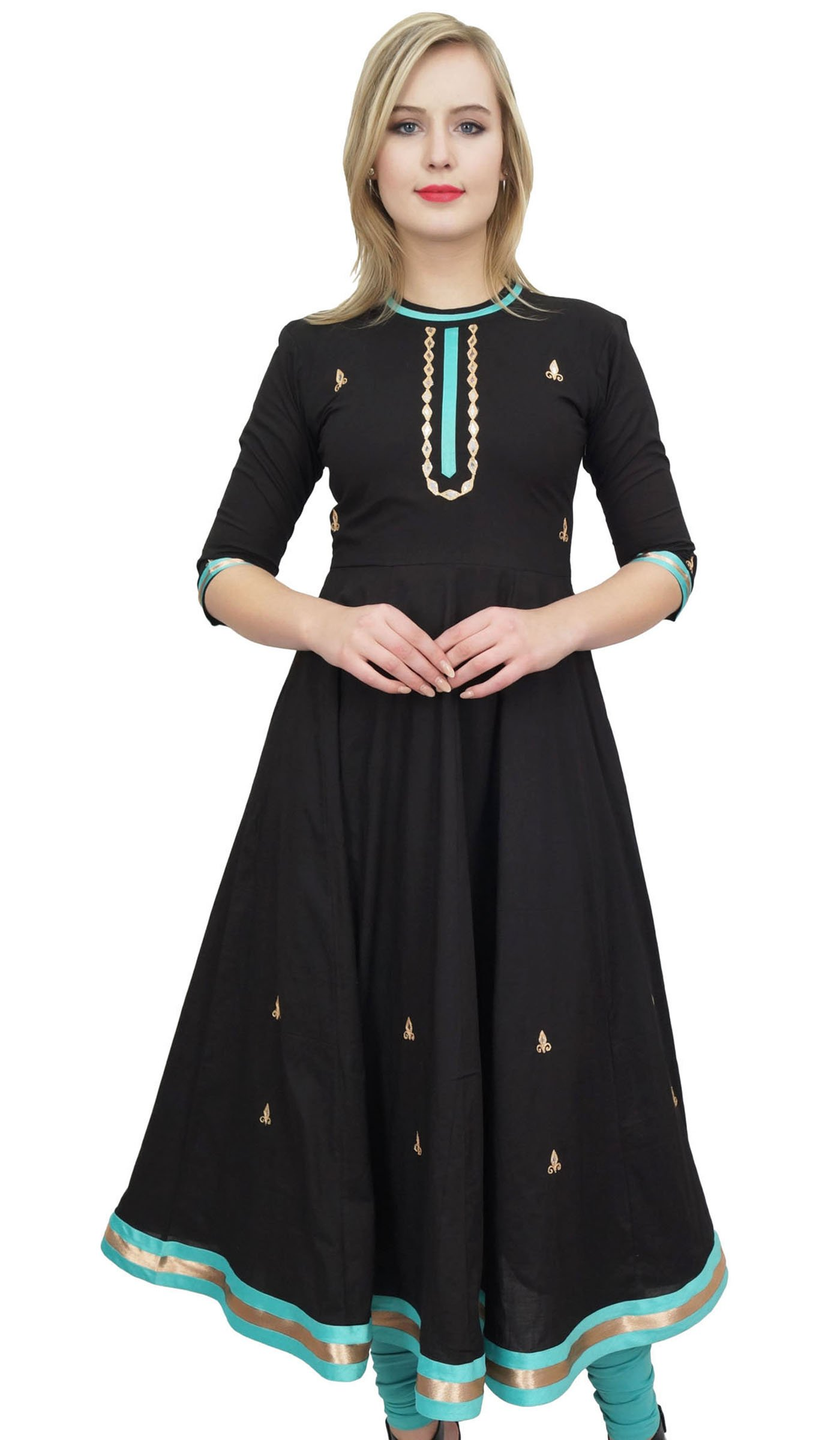 Bimba Women's Designer Flared Anarkali Dress Black Ethnic Kurta Kurti Tunic-26