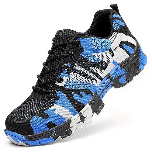 SUADEEX Mujer Hombre Zapatillas de Seguridad Deportivos con Puntera de Acero S1 Zapatos de Trabajo Entrenador Zapatillas de Senderismo Unisex Zapatilla de ...
