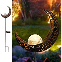 Garden Solar Lights Pathway Outdoor Moon Crackle Glass Globe Stake Metal Lights, Waterproof Warm White LED for Lawn…