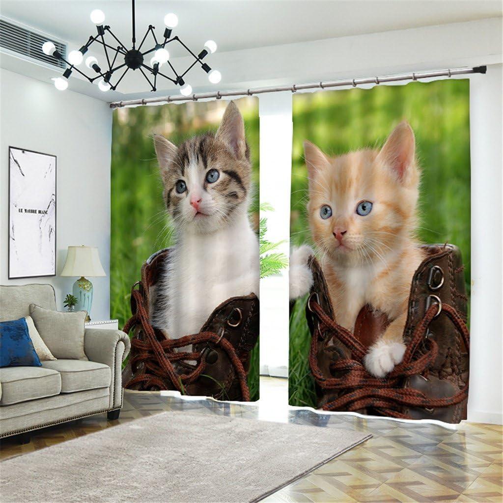 Cortinas térmicas aisladas del apagón, animal del gato 3D que se oculta en zapatos Modelo del estilo, tela superficial 100% del poliéster para la sala de estar Cortina del dormitorio 2 paneles