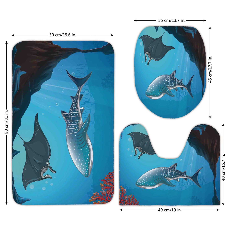 3 Piece Bathroom Mat Set,Sea Animal Decor,Shark Deep Water Stingray with Coral Reefs Algae Rocky Cave Exotic Cartoon,Blue Grey,Bath Mat,Bathroom Carpet Rug,Non-Slip