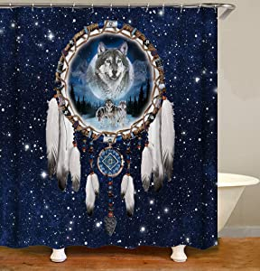 YUYASM Wolf Shower Curtain Decor,Dream Catcher Feather Fantasy Starry Sky Navy Blue Fabric Bathroom Curtains,Waterproof Polyester Bath Curtain Set with Hooks 70x70 Inch