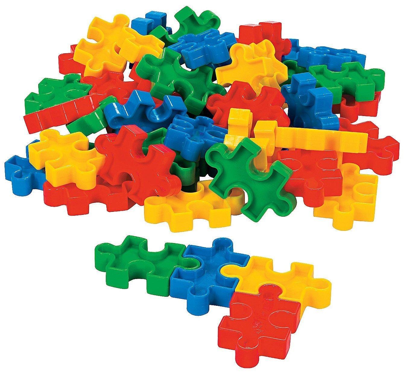 LYSB00SXBNWIK-TOYS Fun Express Puzzle-Shaped Block Set 2 1//4 X 1 3//8 50 Pcs Plastic