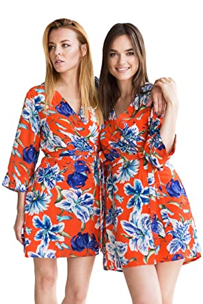 c1df495e85 Bunny Street Premium Quality Robe - Orange and Blue Floral Satin - Lily  Print Kimono Dressing Gowns for Bride and Bridesmaids - Bridal Party Sets  of Robes ...