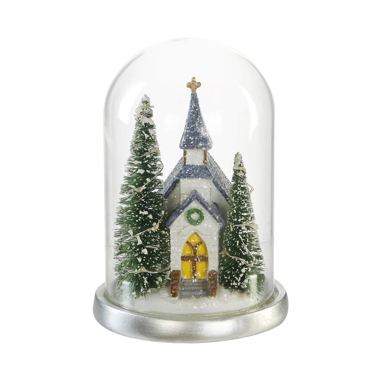 CEDAR HOME Glass Cloche with LED Ornaments Winter Church Scene Table Decor Christmas Home Decoration Holiday Light, 4.75'' W x 4.75'' D x 6.25'' H