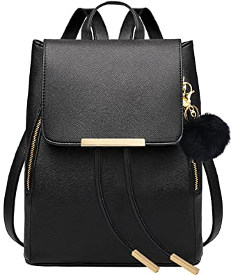aa2d94dcc3 COOFIT Black Faux Leather Backpack for Girls Schoolbag Casual Daypack  (Black with Keychain)