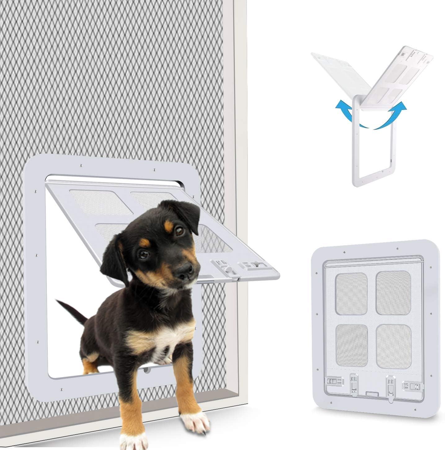 CEESC Puerta de mosquitera para Mascotas para Gatos y Perritos, Puerta corredera con Cerradura de 4 vías para Puertas Exteriores, Solapa de Gato Grande para Mascotas con Circunferencia <60cm (Blanco): Amazon.es: Productos