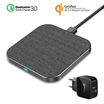 Wefunix Cargador Inalámbrico Rápido [USB C]+Adaptador QC 3.0, 7.5W Qi Quick Charge 3.0 Wireless Charger para iPhone XS Max XR X 8 plus Mix 2S, 10W ...