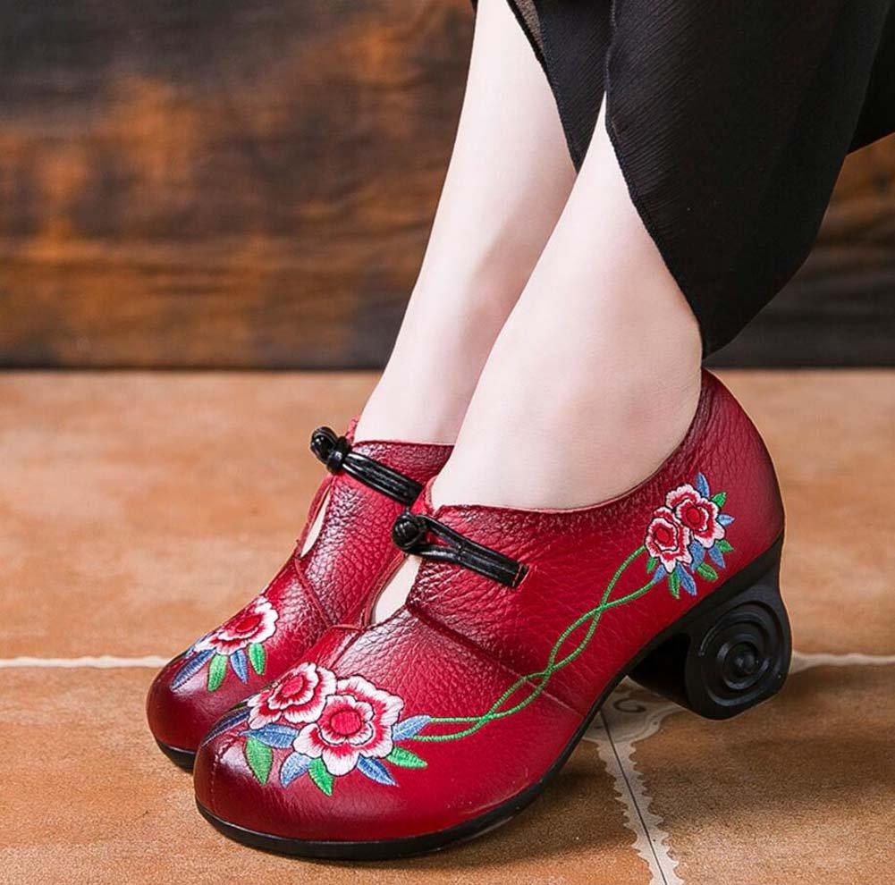 Bomba 6cm Chunkly Heel Ronda Toe Bordado De Cuero Mediados De Los Tacones Zapatos De Vestido Zapatos De La Corte Mujeres Simple Viento Nacional De China Hebilla Zapatos Casual 2017 Otoño E Invierno Nuevo Eu Tamaño 34-39 Onfly