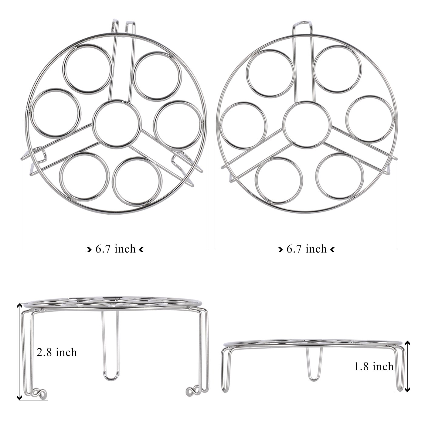 Aozita Stackable Egg Steamer Rack Trivet for Instant Pot Accessories - Fits 5,6,8 qt Pressure Cooker - 2 Pack Stainless Steel Multipurpose Rack by Aozita (Image #2)
