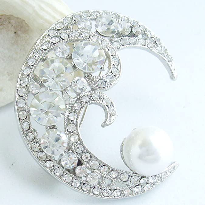 Vintage Style Jewelry, Retro Jewelry 1.97 Pearl Rhinestone Crystal Half Moon Brooch Pin Pendant BZ5817 $13.95 AT vintagedancer.com