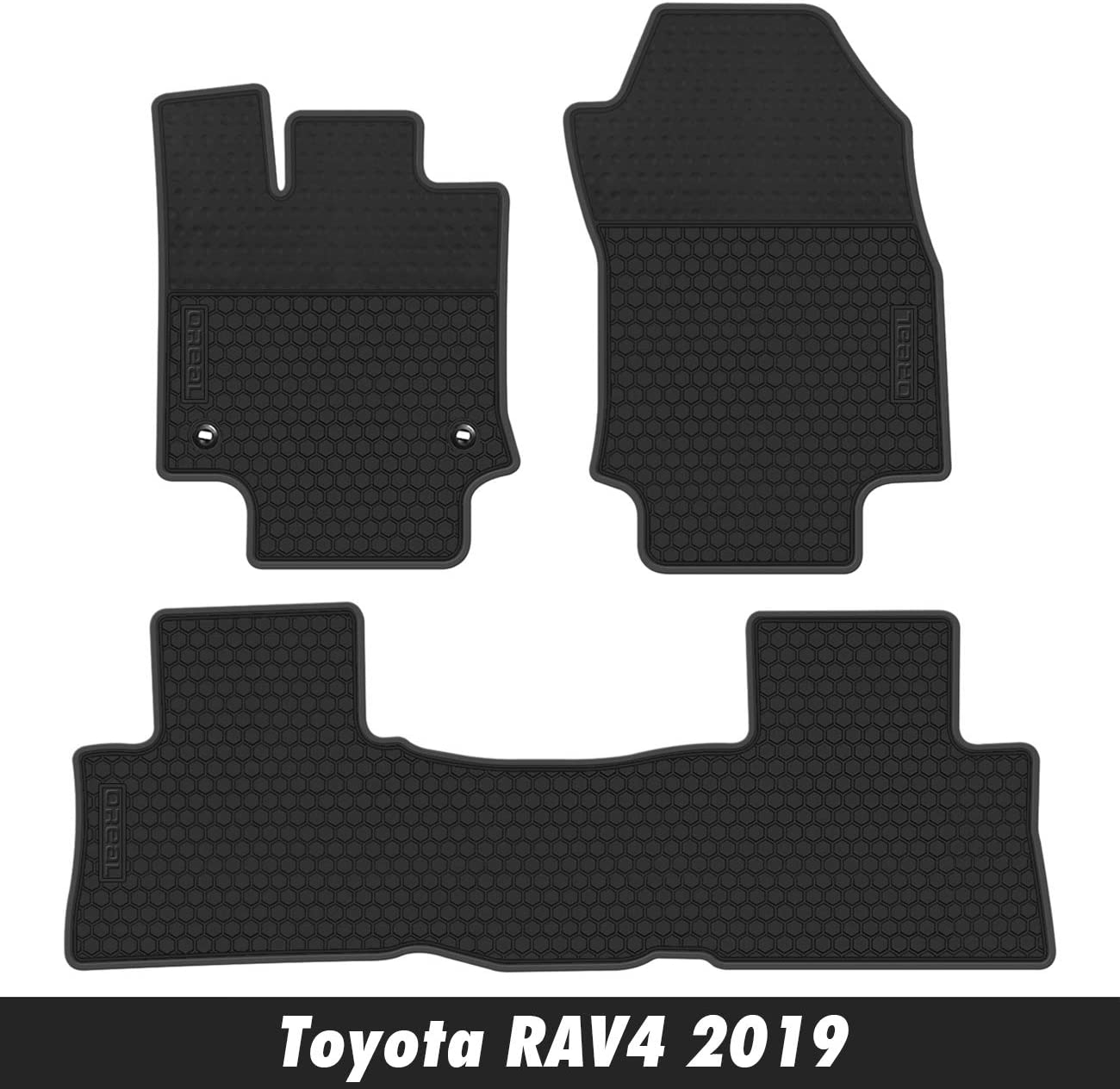 orealauto Car Floor Liners Mats for Toyota RAV4 2019 Vehicle Front and Rear Heavy Duty Rubber Black Red Edge Carpet Set Custom Fit-All Weather Guard Odorless